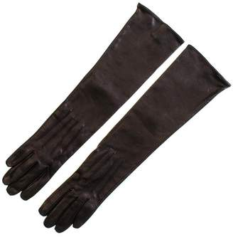 Black Long Leather Gloves - Silk Lined