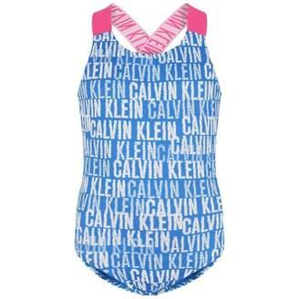 Calvin Klein Calvin KleinGirls Blue Logo Print Swimsuit