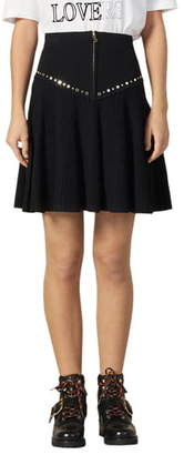 Sandro Oria Stud Detail Knit Miniskirt