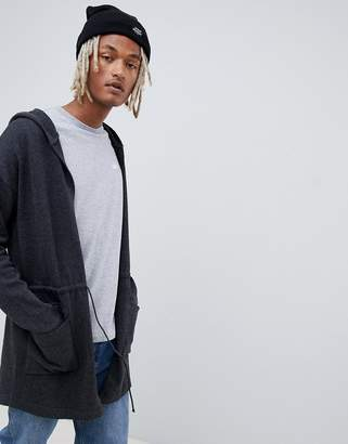 Asos DESIGN knitted parka jacket in charcoal