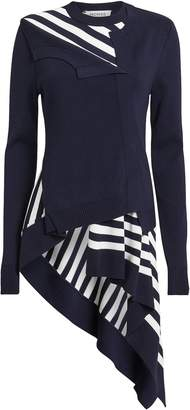 Monse Striped Asymmetric Cardigan