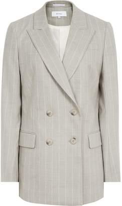 Reiss Pixie Jacket - Pinstripe Double-breasted Blazer in Grey