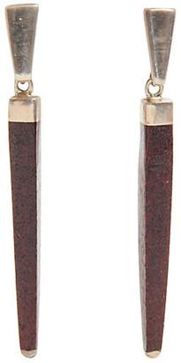 One Kings Lane Vintage Sterling Silver & Wood Earrings - Maeven