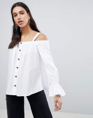 d886078a9296e4 Asos Design DESIGN Premium Cotton Off Shoulder Top with Contrast Buttons
