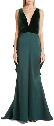 Sachin + Babi Topanga Velvet Bodice Bow Back Gown