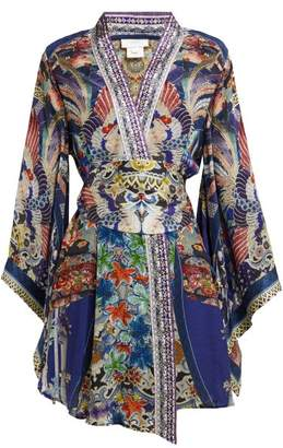 Camilla Playing Koi Print Silk Kimono Wrap Dress - Womens - Blue Print