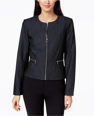 Calvin Klein Zip-Front Denim Blazer