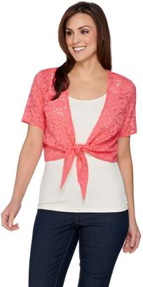 Denim & Co. Short Sleeve Tie Front Stretch Lace Shrug