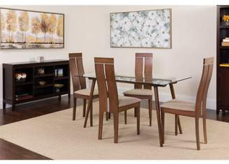 Flash Furniture Roseville 5 Piece Walnut Wood Dining Table Set with Glass Top and Clean Line Wood Dining Chairs - Padded Seats