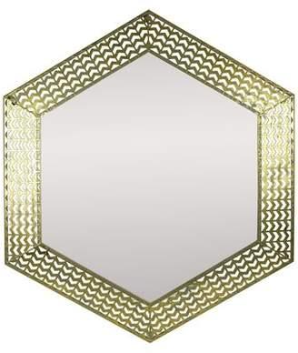 Bungalow Rose Planas Hexagon Golden Metal Frame Accent Mirror