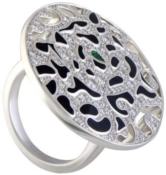 Cartier Panthere 18K White Gold Diamond and Emerald Cocktail Ring Size 5.5