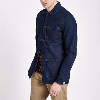 River Island Only and Sons dark blue denim overshirt