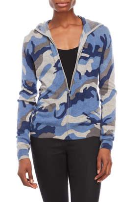 Kier & J Petite Camouflage Zipper Cashmere Hoodie