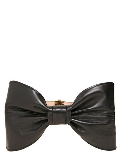 Balmain High Waist Nappa Leather Bow Belt