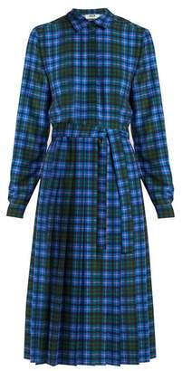 MSGM Checked Midi Dress - Womens - Blue