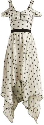 Self-Portrait Handkerchief-hem star-print satin dress