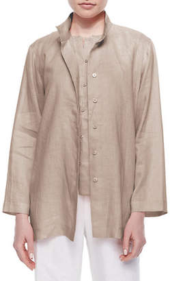 Go Silk Linen Button-Front Jacket