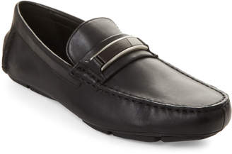 Calvin Klein Black Kadison Leather Driving Loafers