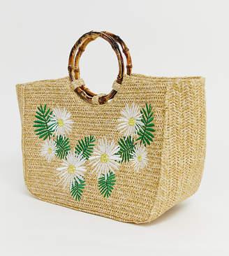 Skinnydip Kaia straw tote bag with bamboo handle