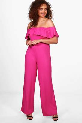 boohoo Plus Zoe Off The Shoulder Frill Wide Leg Jumpsuit