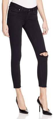 Paige Verdugo Crop Jeans in Jet Black Destroyed