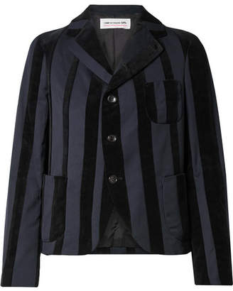 Comme des Garcons Striped Wool-blend And Velvet Blazer - Midnight blue