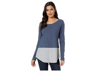 Vince Camuto Long Sleeve Classic Stripe Hem Mix Media Top