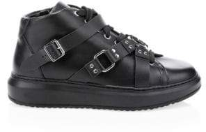 Moschino Buckle High-Top Leather Sneakers