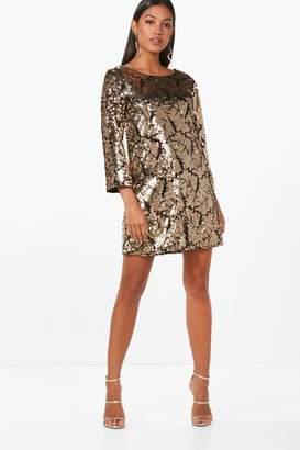 boohoo Boutique Sequin 3⁄4 Sleeve Shift Dress