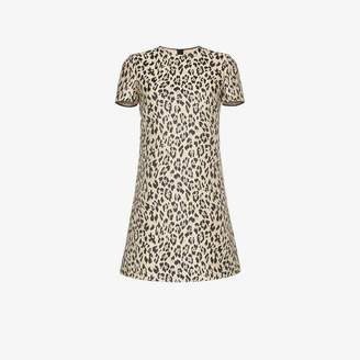 Valentino leopard brocade silk blend mini dress