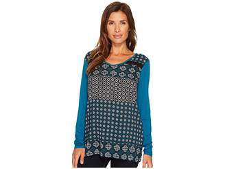 Tribal Long Sleeve Woven Front V-Neck Printed Top Women's Long Sleeve Pullover