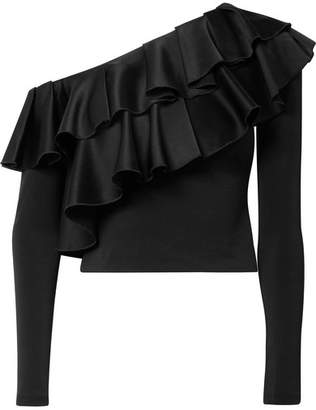 Alice + Olivia Izzy Cropped Ruffled Satin And Stretch-crepe Top - Black