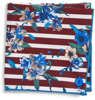 Wilson Armstrong & Stripe Flower Cotton Pocket Square