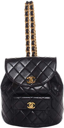 Chanel Black Lambskin Leather Quilted Backpack, Never Carried
