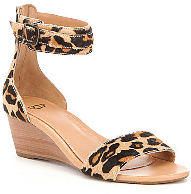 UGGUGG® Char Leopard Calf Hair Wedge Sandals