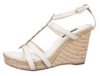 Louis Vuitton Leather-Trimmed Espadrille Wedge Sandals