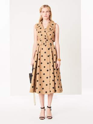 Oscar de la Renta Polka Dot Cotton-Twill Dress