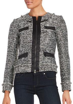 Karl Lagerfeld Paris Fringed Tweed Jacket $189.50 thestylecure.com