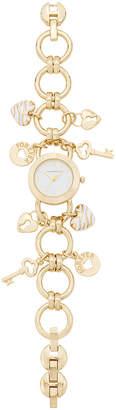Charter Club Women's Gold-Tone Key Charm Bracelet Watch 26mm