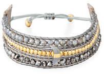 Three-Strand Pull-Tie Bracelet in Mystic Labradorite