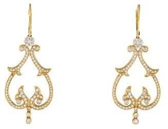 18K Diamond Filigree Drop Earrings