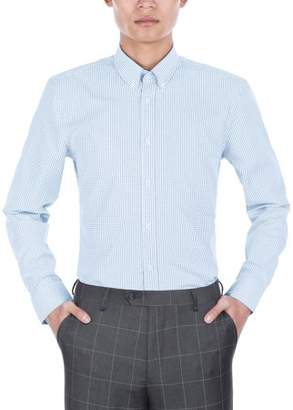 Verno Mens Slim Fit Long Sleeve Blue and White Plaid Dress Shirt