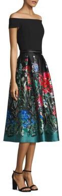 Carmen Marc Valvo Off-the-Shoulder Printed Fit & Flare Dress $795 thestylecure.com