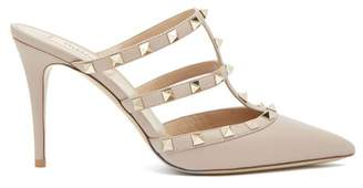 Valentino Rockstud Leather Mules - Womens - Nude