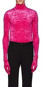 Balenciaga Men's Crushed Velvet Turtleneck Top With Gloves - Pink