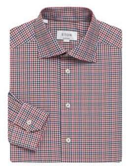 Eton Gingham-Print Contemporary-Fit Cotton Dress Shirt