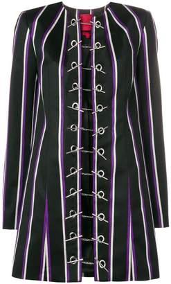 Margaux Rouge striped toggle coat
