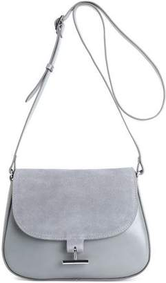 Halston Suede-Paneled Leather Shoulder Bag