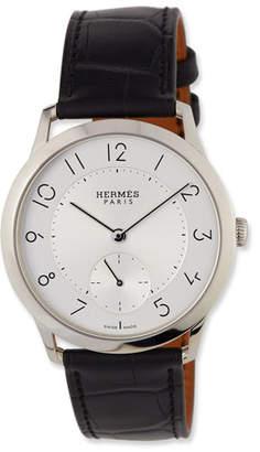 Hermes Slim d'Hermes GM Watch with Black Alligator Strap