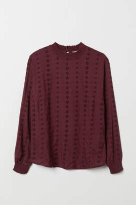 H&M H&M+ Embroidered Blouse - Purple